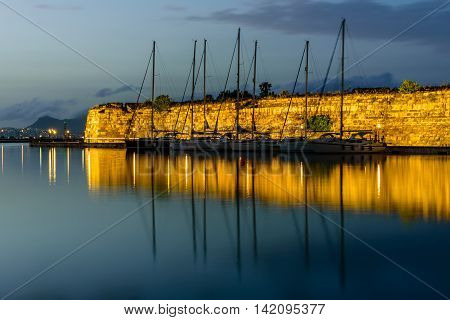 Neratzia fortress and port of Kos town, evening view, Kos island, Dodecanese, Greece.