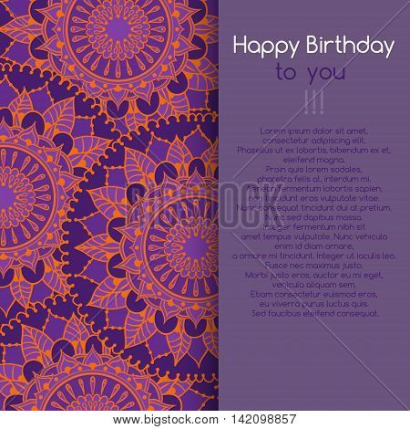Card For Birthday Celebration With Circular Floral Ornament Round Pattern Mandala