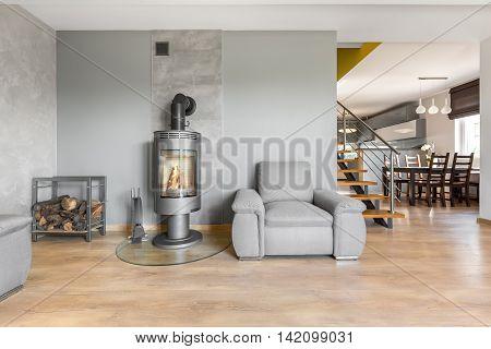 Modern Villa Interior With Fireplace Idea