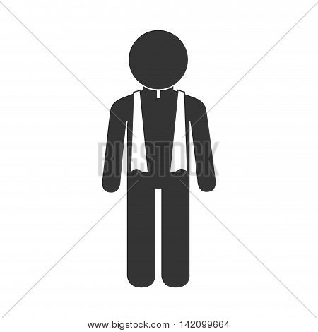 priest reverend christian catholic collar religious chaplain vector graphic isolated and flat illustration