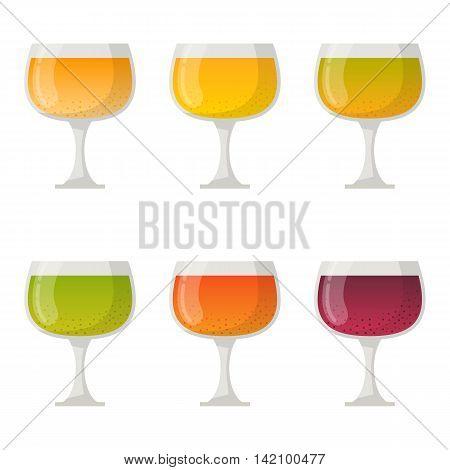 Vector illustration with cartoon juice cocktail glasses. Summer organic healthy vitamin beverage. Cartoon colorful isolated juice glass. Fruit vegetable vegan vegetarian summer detox smoothies