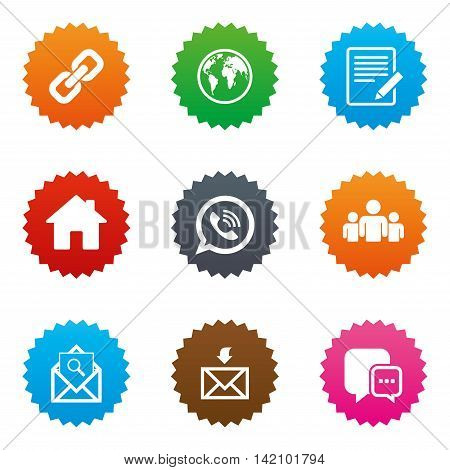 Communication icons. Contact, mail signs. E-mail, call phone and group symbols. Stars label button with flat icons. Vector