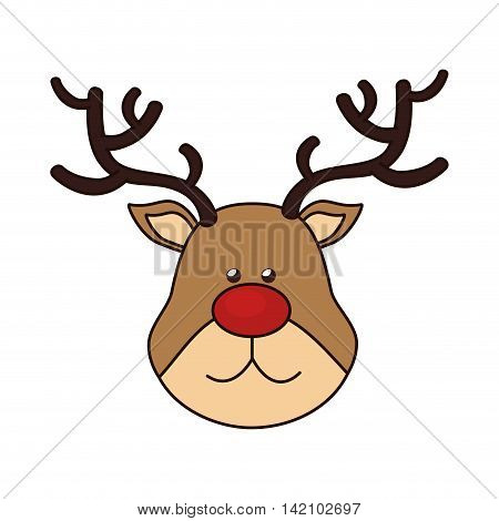 reindeer rudolph nose red christmas figure animal merry noel favector graphic isolated and flat illustration