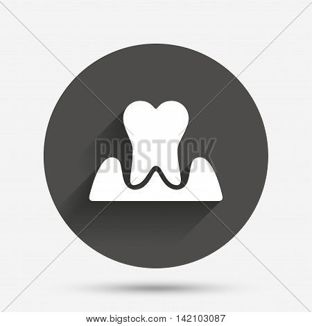 Parodontosis tooth icon. Gingivitis sign. Inflammation of gums symbol. Circle flat button with shadow. Vector