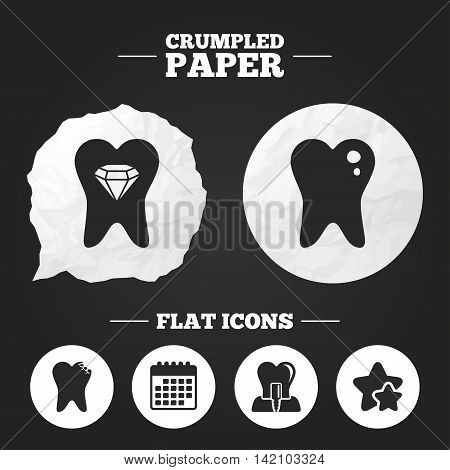 Crumpled paper speech bubble. Dental care icons. Caries tooth sign. Tooth endosseous implant symbol. Tooth crystal jewellery. Paper button. Vector