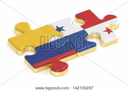 Panama and Colombia puzzles from flags 3D rendering
