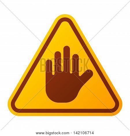 Attention stop hand icon danger button and attention warning sign. Attention security alarm symbol. Danger warning attention sign with symbol information and notification icon vector