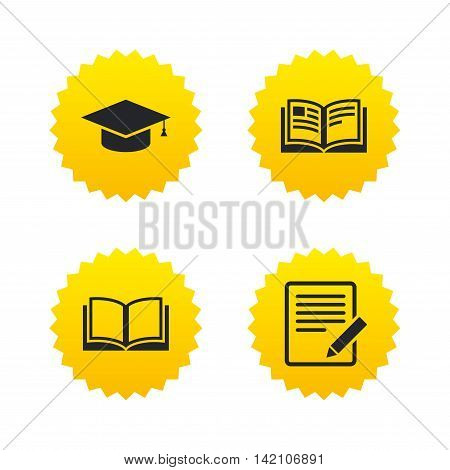 Pencil with document and open book icons. Graduation cap symbol. Higher education learn signs. Yellow stars labels with flat icons. Vector