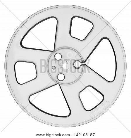 Empty spool for audio tape isolated on white with clipping path Backlit