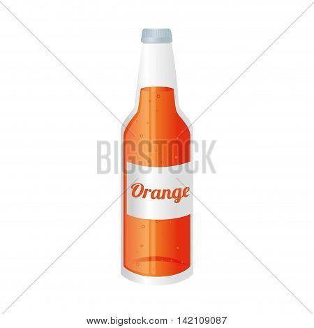 orange soda juice bottle glass liquid drink recipient cap vector graphic isolated and flat illustration