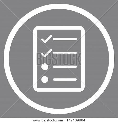 Checklist Page vector icon. Style is flat rounded iconic symbol, checklist page icon is drawn with white color on a gray background.