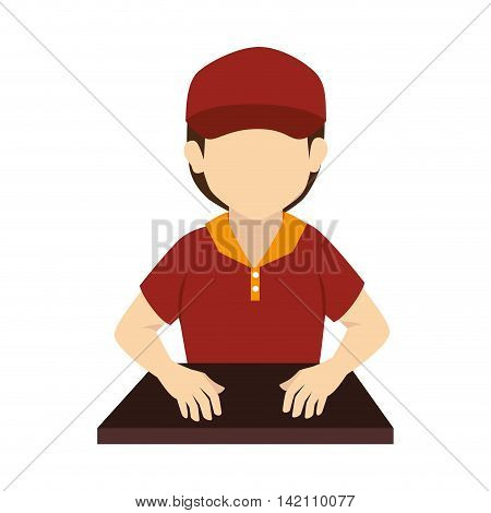 man uniform seller guy cashier hat store person store hat vector graphic isolated and flat illustration