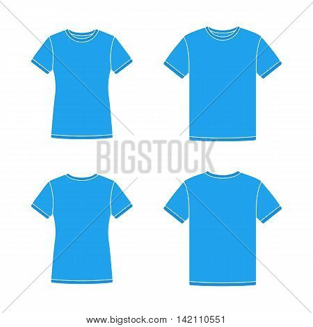 Mens and womens blue short sleeve t-shirts templates. Front and back views. Vector flat illustrations