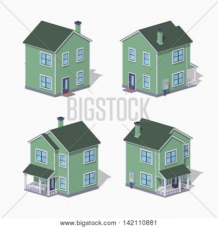 Suburban house. 3D lowpoly isometric vector illustration. The set of objects isolated against the white background and shown from different sides