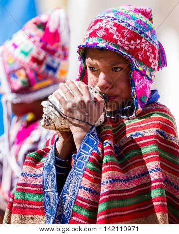Children In Traditional Quechua Clothes