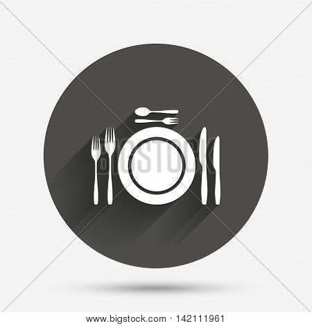 Plate dish with forks and knifes. Dessert trident fork with teaspoon. Eat sign icon. Cutlery etiquette rules symbol. Circle flat button with shadow. Vector