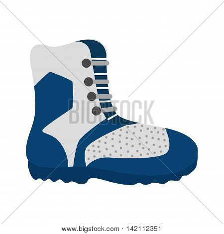 hiking boot shoes winter snow mountain ice vector graphic isolated and flat illustration