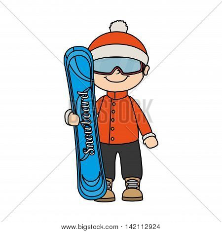 kid child boy smile snowboard winter sport jacket hat clothing snow  vector graphic isolated and flat illustration