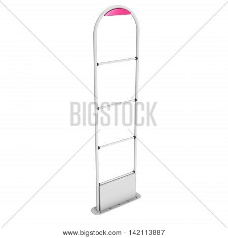 3D shop security anti-theft sensor gates. 3D render illustration of blank shoplifter scanner isolated on white background. Scanner entrance gate for prevent theft in shop or store. Security concept. poster