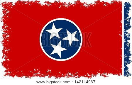 State flag of Tennessee with distressed edges