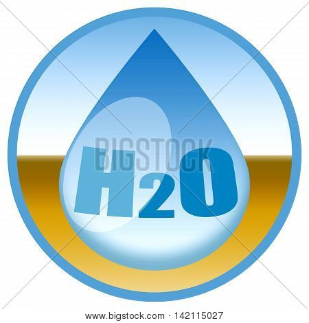 Water drop in desert, sticker isolated on white background