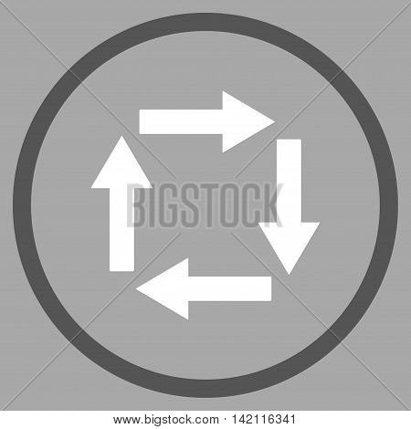 Circulation Arrows vector icon. Style is bicolor flat rounded iconic symbol, circulation arrows icon is drawn with dark gray and white colors on a silver background.