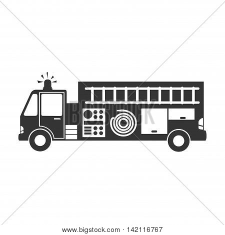 firetruck side car camion fireman rescue hose button ladder vector graphic isolated illustration
