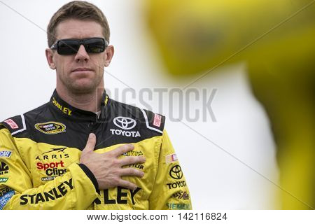 Long Pond, PA - Aug 01, 2016: Carl Edwards (19) gets ready for the Pennsylvania 400  at the Pocono Raceway in Long Pond, PA.