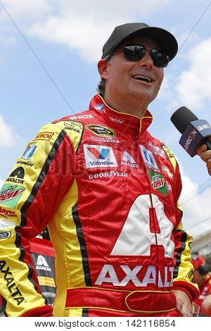 Speedway, IN - Jul 23, 2016: Jeff Gordon (88) hangs out on pit road during qualifying for the Combat Wounded Coalition 400 at the Indianapolis Motor Speedway in Speedway, IN.