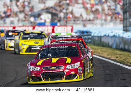 Watkins Glen, NY - Aug 07, 2016: Jamie McMurray leads the pack in the McDonaldâ??s Chevy  during the CHEEZ-IT 355 at the Glen weekend at the Watkins Glen International in Watkins Glen, NY.