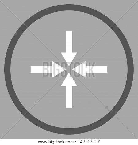 Impact Arrows vector icon. Style is bicolor flat rounded iconic symbol, impact arrows icon is drawn with dark gray and white colors on a silver background.