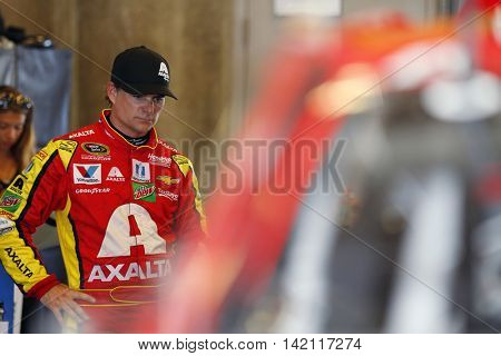 Speedway, IN - Jul 22, 2016: Jeff Gordon (88) hangs out in the garage during practice for the Combat Wounded Coalition 400 at the Indianapolis Motor Speedway in Speedway, IN.