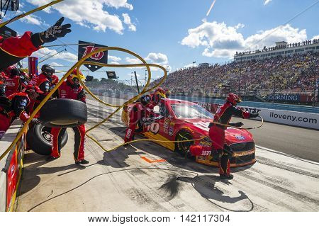 Watkins Glen, NY - Aug 07, 2016: Greg Biffle brings the #16 Cheez-It Ford into the pits for maintenance  during the CHEEZ-IT 355 at the Glen at Watkins Glen International in Watkins Glen, NY.