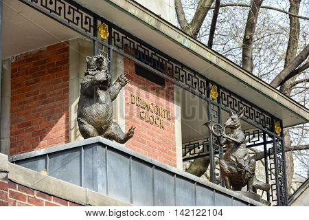 New York City - March 26, 2016: Delacorte Music Clock by the Central Park Zoo in Manhattan. It is a three-tiered mechanical clock which plays music as the animals spin around.