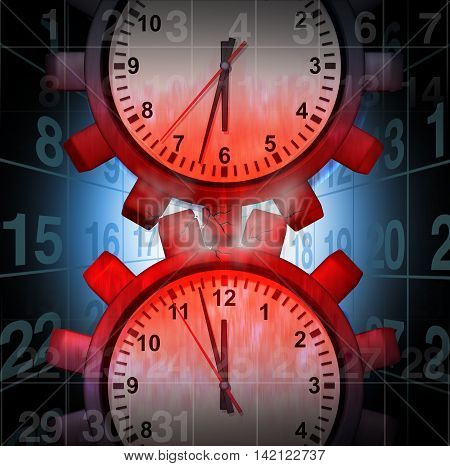 Work Schedule Stress concept as clocks shaped as gears creating friction causing pressure and overload as a business problem metaphor as a 3D illustration.