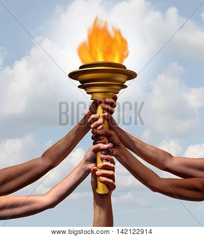 People holding a torch flame symbol as a group of diverse athletes or community members joining in lifting a cresset object together for sport ceremony or a beacon for friendship with 3D illustration elements.