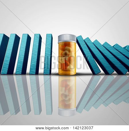 Medicine success solution and medication cure concept as a group of falling dominoes or domino objects stopped by a prescription pill bottle as an symbol for medical or pharmaceutical research success as a 3D illustration.