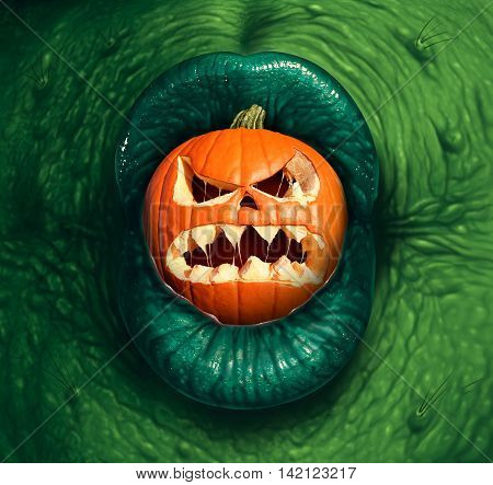 Halloween monster jack o lantern as a green witch or ogre character biting into a pumpkin with a scary expression in a 3D illustration style.
