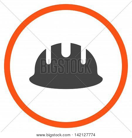 Builder Hardhat vector icon. Style is bicolor flat rounded iconic symbol, builder hardhat icon is drawn with orange and gray colors on a white background.