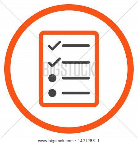 Checklist Page vector icon. Style is bicolor flat rounded iconic symbol, checklist page icon is drawn with orange and gray colors on a white background.