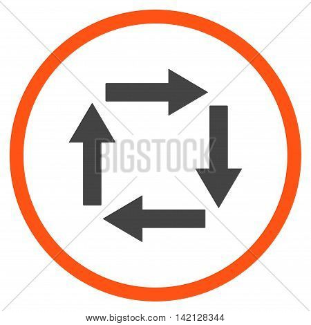 Circulation Arrows vector icon. Style is bicolor flat rounded iconic symbol, circulation arrows icon is drawn with orange and gray colors on a white background.