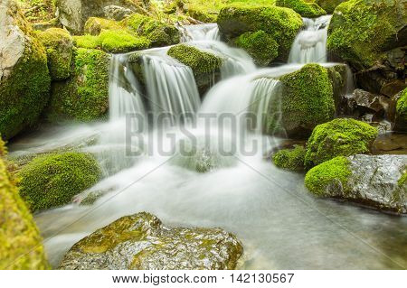 Stock photo material obtained by photographing the mountains of the river.