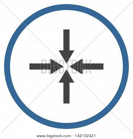 Impact Arrows vector icon. Style is bicolor flat rounded iconic symbol, impact arrows icon is drawn with cobalt and gray colors on a white background.