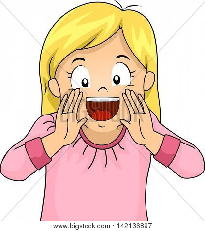 Illustration of a Little Girl Shouting Happily