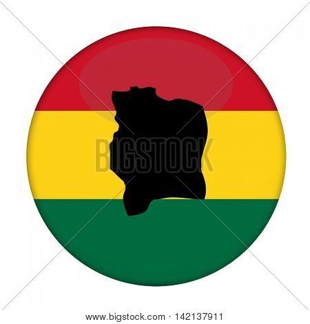 Ivory Coast map on a Rastafarian flag button, white background.