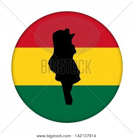 Tunisia map on a Rastafarian flag button, white background.