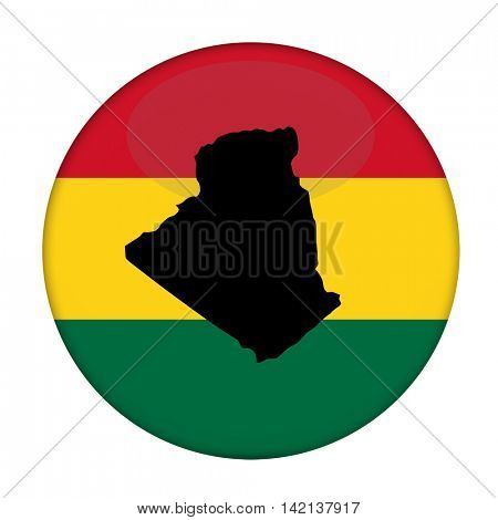 Algeria map on a Rastafarian flag button, white background.