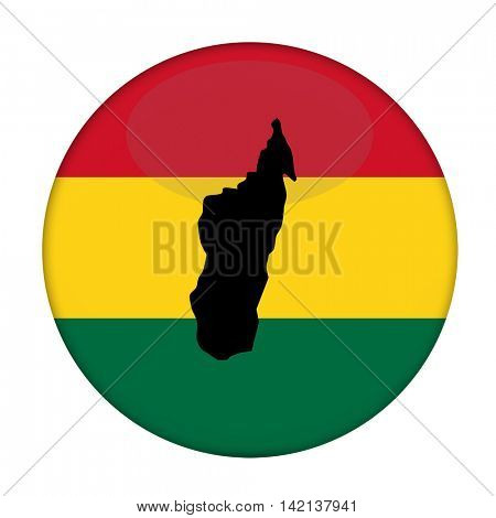 Madagascar map on a Rastafarian flag button, white background.