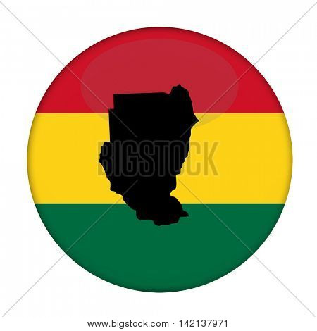 Sudan map on a Rastafarian flag button, white background.
