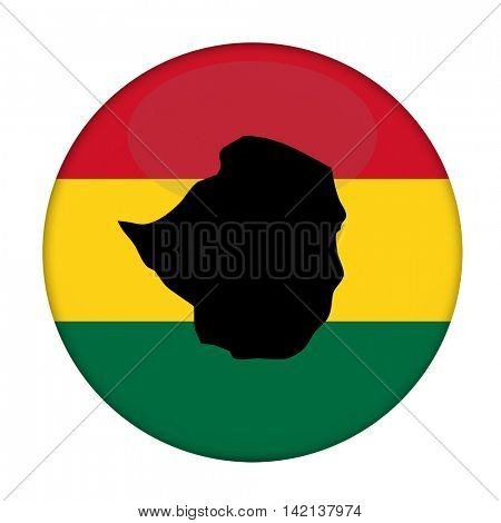 Zimbabwe map on a Rastafarian flag button, white background.